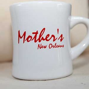 white mug with Mother's New Orleans' red print