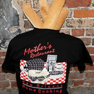 1 black t-shirt with Mothers restaurant red print and baguette inserted on the neck